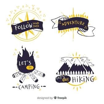 Colección de logos de aventura dibujados a mano