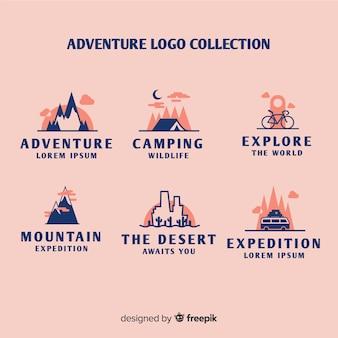 Colección de logos de aventura vintage