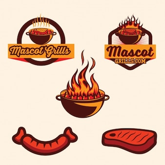 Colección de logos de barbacoa