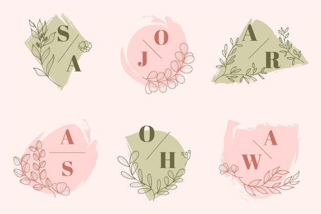 Colección de logos de boda pintados a mano