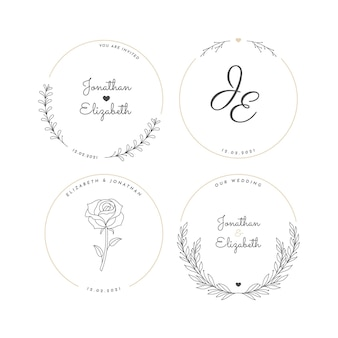 Colección de logos de boda planos lineales