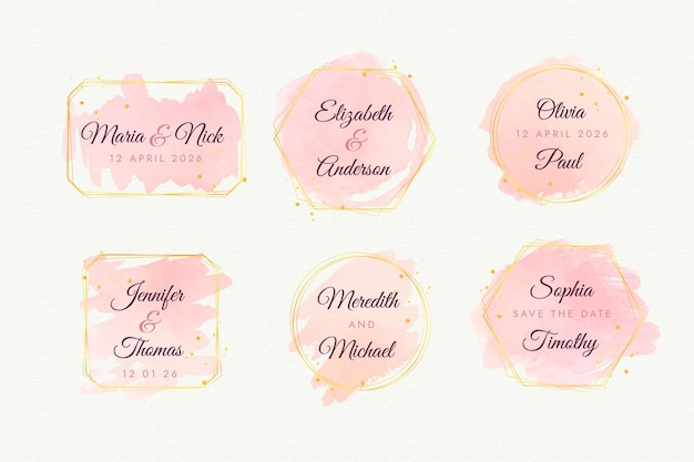 Colección de logos de bodas pintados a mano