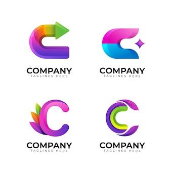 Colección de logos c de colores degradados