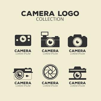 Colección de logos de cámara en blanco y negro