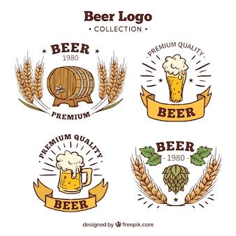 Colección de logos de cerveza hechos a mano