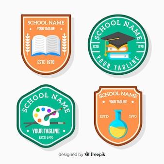 Colección de logos de colegio en diseño plano
