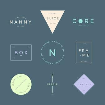 Colección de logos con colores pastel