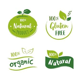 Colección de logos de comida orgánica.