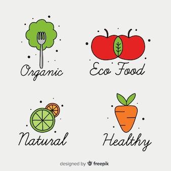 Colección de logos de comida saludable dibujados a mano