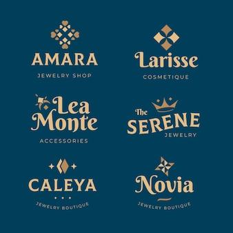 Colección de logos de complementos de moda de diseño plano