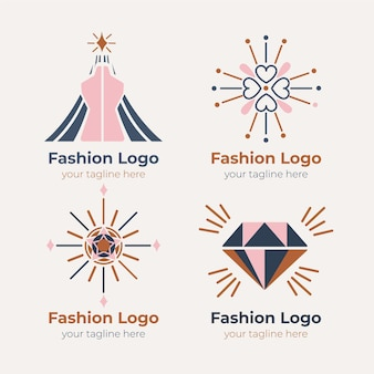 Colección de logos de complementos de moda planos