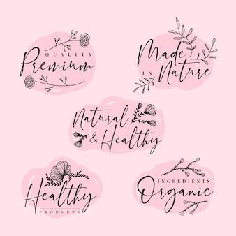 Colección de logos de cosmética natural elegante