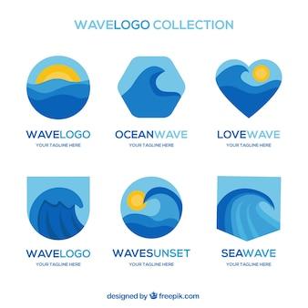 Colección de logos creativos de olas