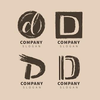 Colección de logos d pintados a mano