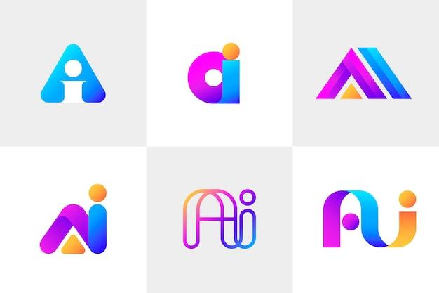 Colección de logos degradados ai