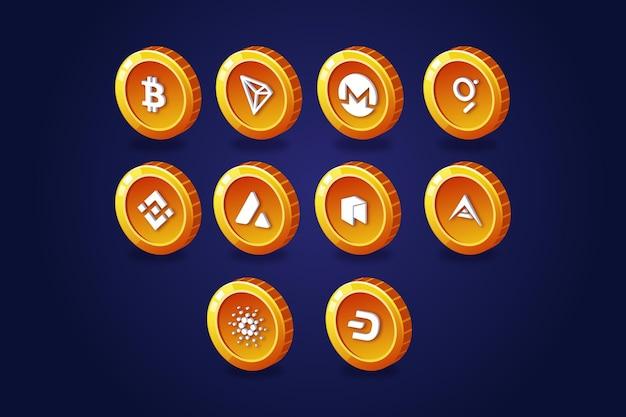 Colección de logos degradados de bitcoin