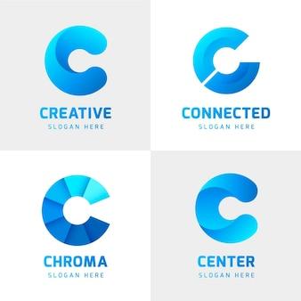 Colección de logos degradados c vector gratuito