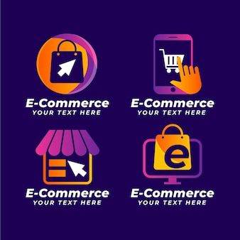 Colección de logos degradados de comercio electrónico