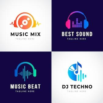 Colección de logos degradados de dj