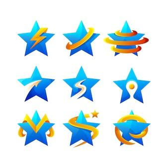 Colección de logos degradados de estrellas
