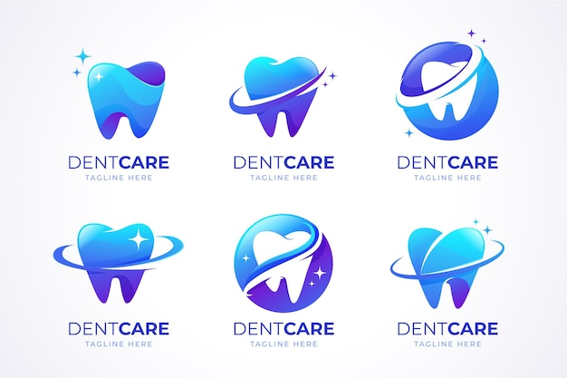 Colección de logos dentales degradados