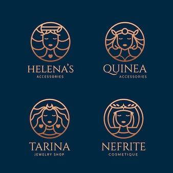 Colección de logos de diosa degradada
