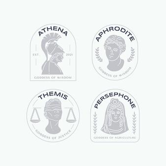 Colección de logos de diosa plana