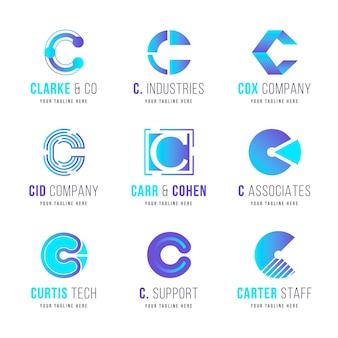 Colección de logos de diseño plano c