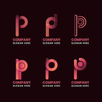 Colección de logos de diseño plano p