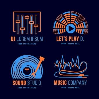 Colección de logos de dj de diseño plano