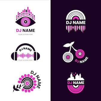 Colección de logos de dj planos modernos