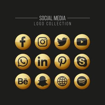 Colección de logos dorados en redes sociales sobre negro.