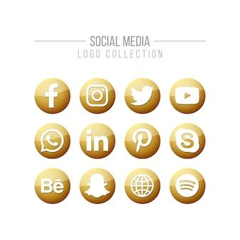 Colección de logos dorados en redes sociales.