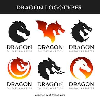 Colección de logos de dragón con diseño plano