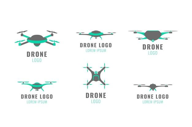 Colección de logos de drones planos
