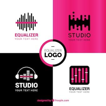 Colección de logos de ecualizadores con diseño plano