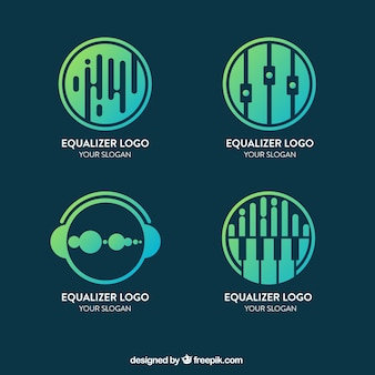 Colección de logos de ecualizadores con estilo de degradado