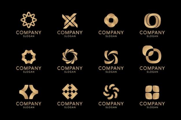 Colección de logos de empresa dorados