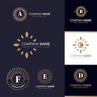 Colección de logos empresariales con elementos naturales dorados.