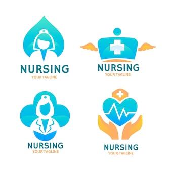 Colección de logos de enfermeras planas