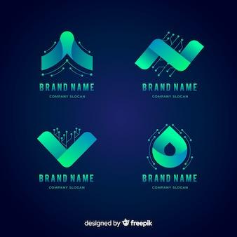 Colección de logos en estilo de tecnología de gradiente