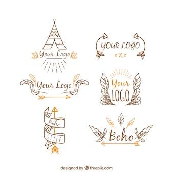 Colección de logos étnicos dibujados a mano con elementos naranjas