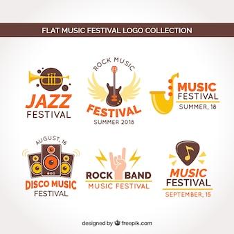 Colección de logos de festivales de música con diseño plano
