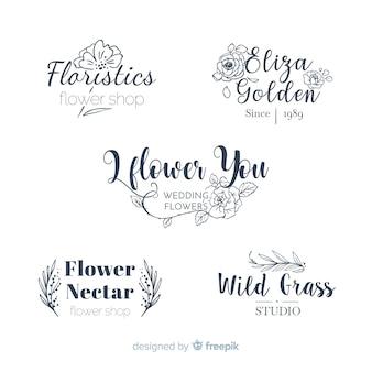 Colección de logos de floristería para bodas.