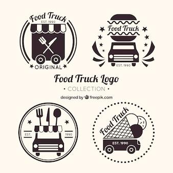 Colección de logos de food truck con estilo clásico