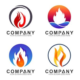 Colección de logos de fuego en forma de círculo.