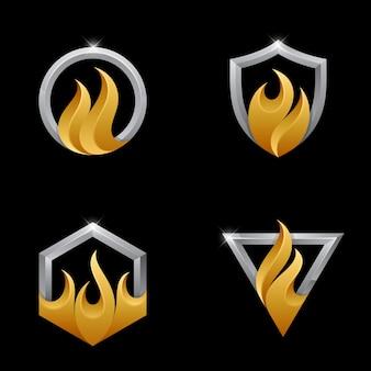 Colección de logos de fuego con marco plateado 3d