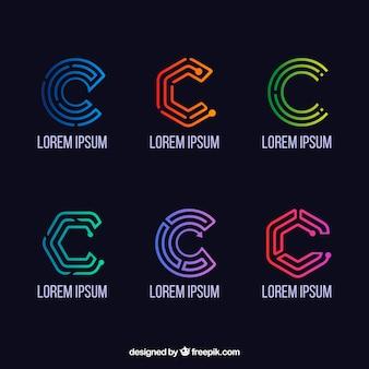 Colección de logos geométricos de la letra c