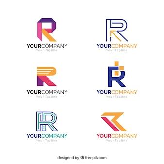 Colección de logos geométricos de la letra r