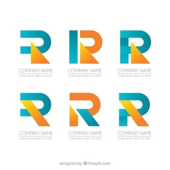 Colección de logos geométricos letra r